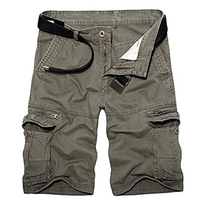 AKARMY Men's Lightweight Multi Pocket Casual Cargo Shorts Outdoor Twill Camo Shorts with Zipper Pockets with 8 Pockets