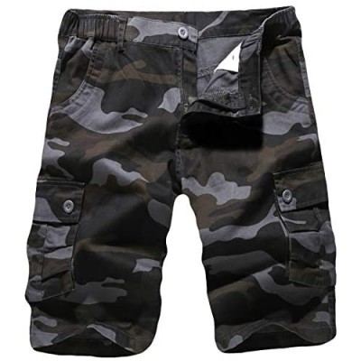 APTRO Men's Cargo Shorts Camo Cotton Lightweight Relaxed Fit Casual Shorts with Multi-Pockets
