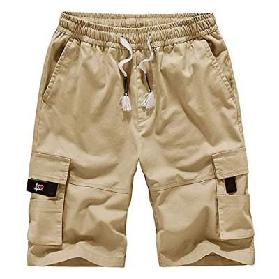 ELETOP Mens Casual Elastic Waist Cargo Shorts Relaxed Fit Outdoor Multi Pocket Work Shorts