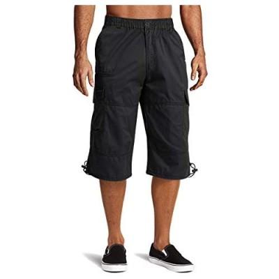 FASKUNOIE Men's 3/4 Cotton Cargo Short Pants Casual Loose Fit Outdoor Capri Long Shorts with Seven Pockets