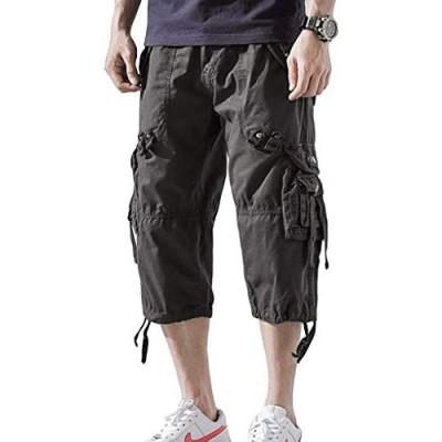 Hakjay Mens 3/4 Long Cargo Shorts Below Knee Shorts Capri Pants
