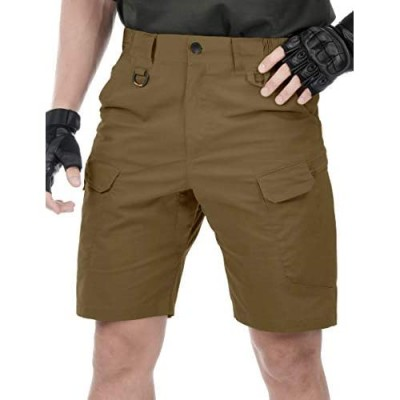HEATFEELING Men's 9.5 Inches Tactical Cargo Shorts Waterproof Ripstop BDU Work Shorts Military Hiking with Elastic Waist