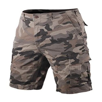 Men's Classic Relaxed-Fit Cargo Shorts Multi Pocket Camouflage 100% Heavy Cotton