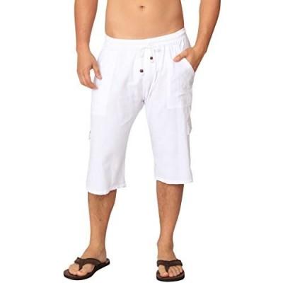 Men's Cotton Cargo Below The Knee Shorts Capri Men Pants Cotton Yoga Capris