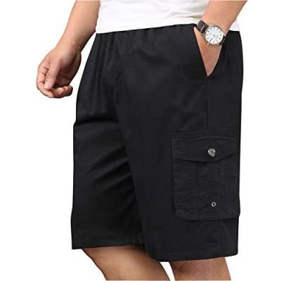XinnanDe Mens Lightweight Cotton Loose Full Elastic Waist Twill Cargo Short with Drawstring