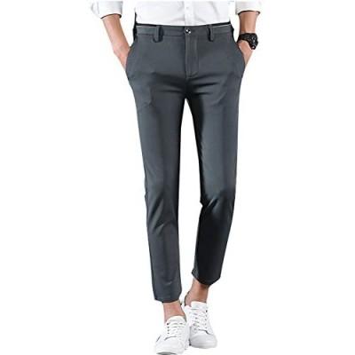 Plaid&Plain Men's Casual Stretch Flat Front Dress Pants Slim-Tapered Suit Pants