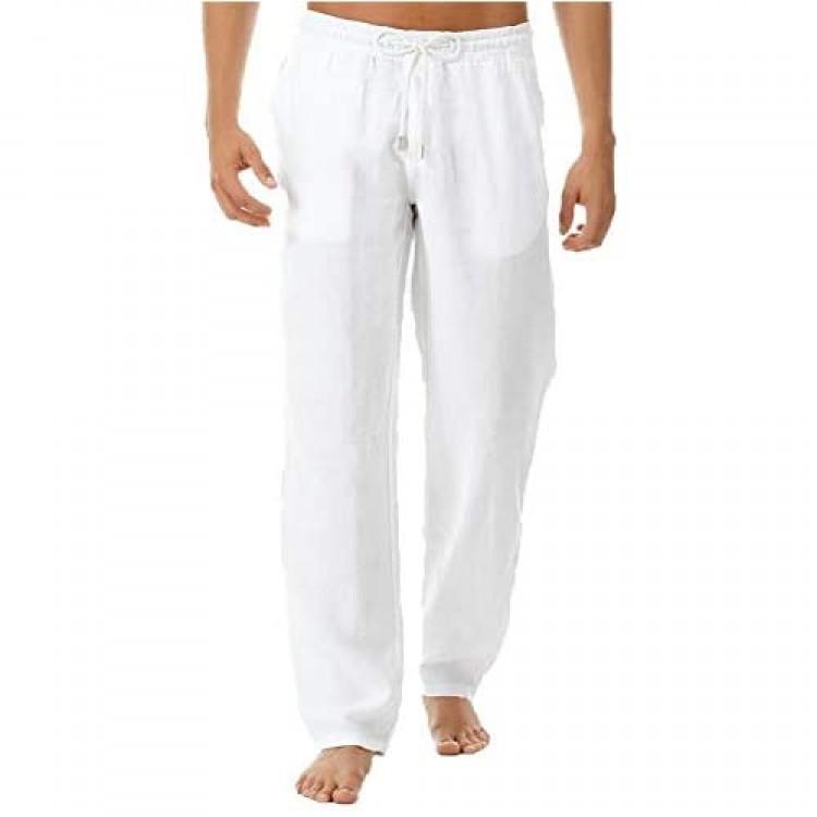 THWEI Linen Pants Mens Casual Pants Drastring Loose Fit Summer Pants Lightweight Casual Beach Pants for Men