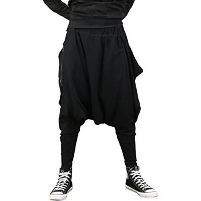 ellazhu Men Black Fashion Drop Crotch Loose Casual Yoga Harem Long Pants GYM161 A