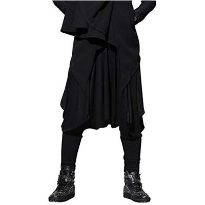 ellazhu Mens Baggy Pants Elastic Waist Black Harem Pants for Men Yoga Trouser Joggers GYM22 A
