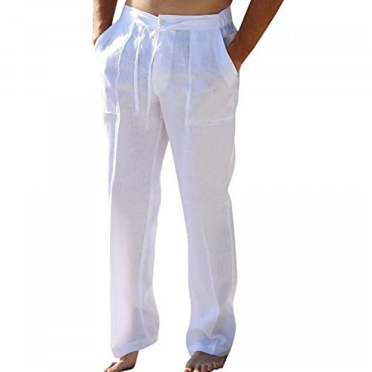 Enjoybuy Mens Casual Linen Pants Elastic Drawstring Waist Summer Loose Fit Long Beach Yoga Pants