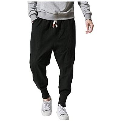 LifeHe Men Linen Drop Crotch Wide Leg Baggy Harem Pants