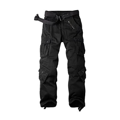 OCHENTA Men's Casual Military Cargo Pants 8 Pockets Work Combat Outdoor Trousers
