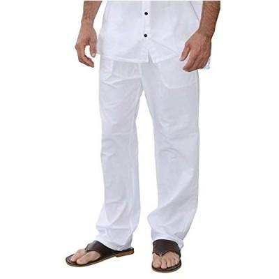 PURE COTTON Men Casual Beach Trousers Cotton Elastic Waistband Summer Pants