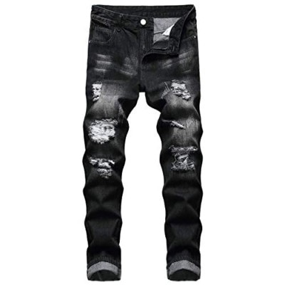 QIMYUM Mens Ripped Jeans Distressed Destroyed Slim Fit Straight Leg Denim Pants