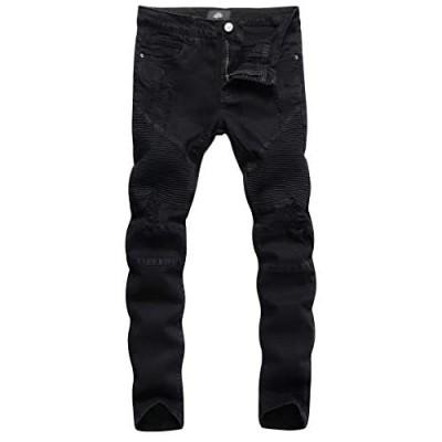 ZLZ Slim Fit Biker Jeans Men's Super Comfy Stretch Skinny Biker Denim Jeans Pants