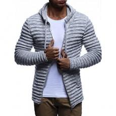 Leif Nelson LN20724 Men's Knit Jacket with Hood Knitt Zip Up Cardigan Hoodie