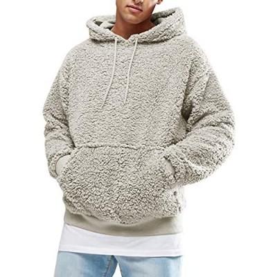 Mens Fuzzy Sherpa Pullover Hoodie Sweatshirts Long Sleeve Sport Front Pocket Fall Outwear Winter Hooded