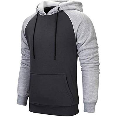 Mens Hoodies Pullover Color Block Sweatshirts Fleece Tops with Kanga Pocket