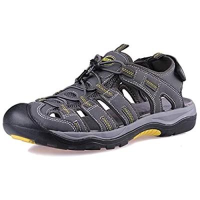 GRITION Mens Closed Toe Sandals Outdoor Hiking Sport Water Shoes Waterproof Athletic Comfortable Beach Walking Sandal Fisherman Summer