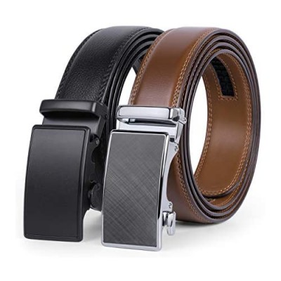 2 Pack Leather Ratchet Belt for Men Adjustable Dress Belt with Click Sliding Buckle in Gift Box Trim to Fit