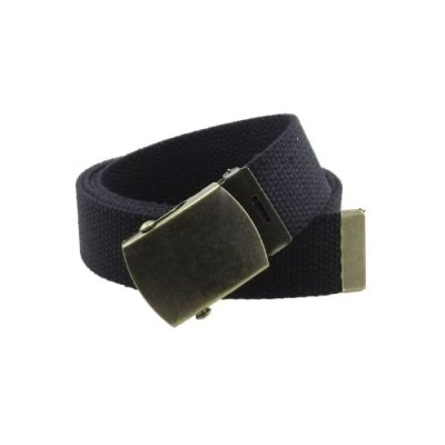 """Canvas Web Belt Military Style with Antique Brass Buckle and Tip 50"""" Long"""
