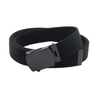 """Canvas Web Belt Military Style with Black Buckle and Tip 56"""" Long Many Colors"""