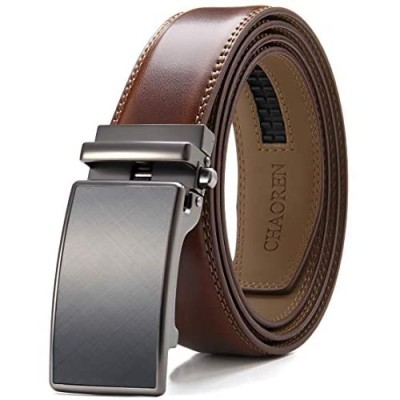 Chaoren Leather Ratchet Dress Belt 1 3/8 with Formal Slide Buckle Adjustable Trim to Fit in Gift Box