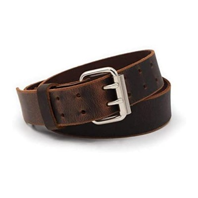 Double Down Leather Belt | Made in USA | Brown Leather Belt for Men | Two Prong Mens Work Belt | Men's Belts Casual