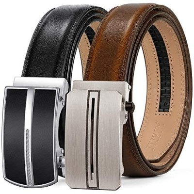 ITIEZY Leather Ratchet Dress Belt 2 Pack with Automatic Buckle Adjustable Click Sliding Belt for Men Trim to Fit