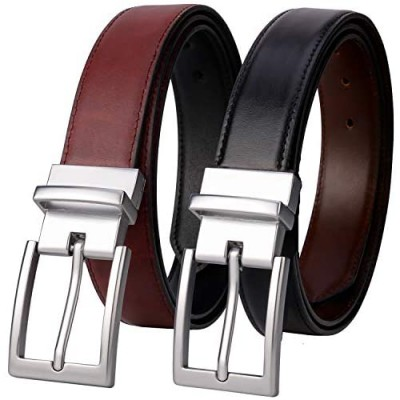 Lavemi Mens Belt Reversible 100% Italian Cow Leather Dress Casual Belts for men One Reverse for 2 Colors Trim to Fit