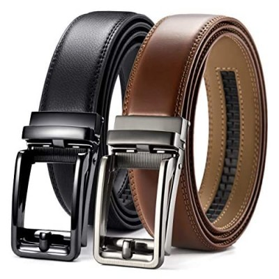 "Leather Ratchet Dress Belt 2 Pack 1 3/8"" Chaoren Click Adjustable Belt Comfort with Slide Buckle Trim to Exact Fit"