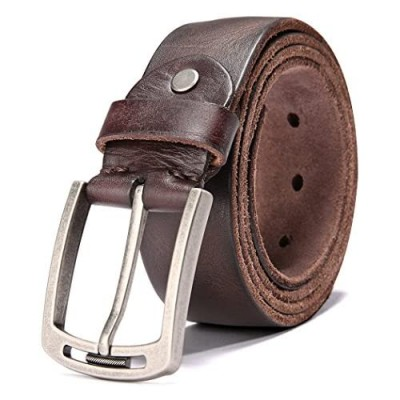 Men's 100% Italian Cow Leather Belt Men With Anti-Scratch Buckle Packed in a Box