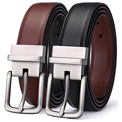 """Men's Belt Bulliant Leather Reversible Belt 1.25"""" For Mens Casual Golf Dress One Belt Reverse For 2 Sides"""