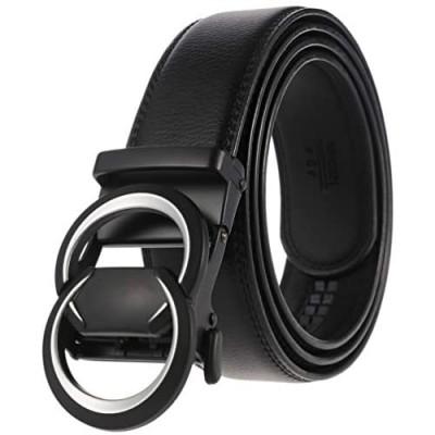 Men's Belt Genuine Leather Ratchet Dress Suit G Belt With Automatic Slide Buckle Black Belt Elegant Gift Box