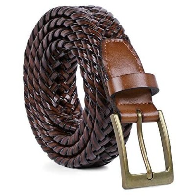 Men's Braided Leather Belt Braided Woven Belt for Men Casual Jeans with Solid Strap Single Prong Buckle by JASGOOD