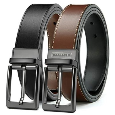 """Mens Reversible Leather Belt 1 3/8"""" Chaoren Dress Belt Black & Brown with Not-Pull-Rotated Buckle Trim to Fit"""