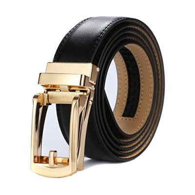 Tonywell Mens Leather Ratchet Belts with Open Buckle Perfect Fit Dress Belt 30mm Wide