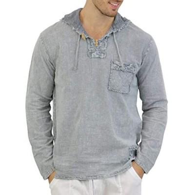 INGEAR Men's Fashion Hoodie Shirt- 100% Cotton Casual Hippie Long Sleeve Hooded Tee Shirt Beach Yoga Top