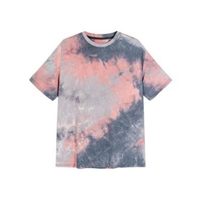MakeMeChic Men's Tie Dye Round Neck Short Sleeve T-Shirt Tee Tops