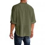 Mens Linen Cotton T Shirt Casual 3/4 Sleeve Beach Hippie Yoga Tees Plain Drawstring Lace-up Summer Tops