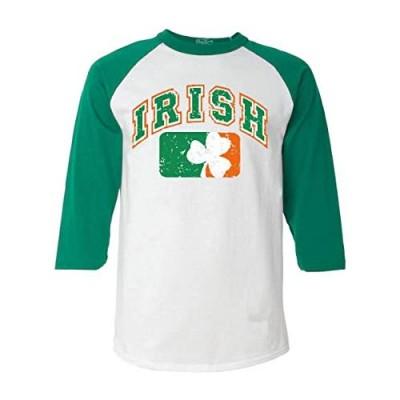 Shop4Ever Vintage Irish Flag Shamrock Baseball Shirt St. Patricks Day Raglan Shirt