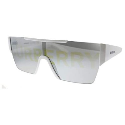 Burberry BE 4291 3007/H White Plastic Rectangle Sunglasses Silver Burberry Logo Lens