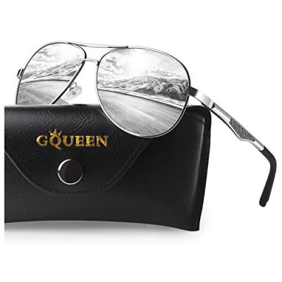 GQUEEN Classic Military Style Pilot Polarized Sunglasses Spring Hinges Al-Mg for mens womens MOS1