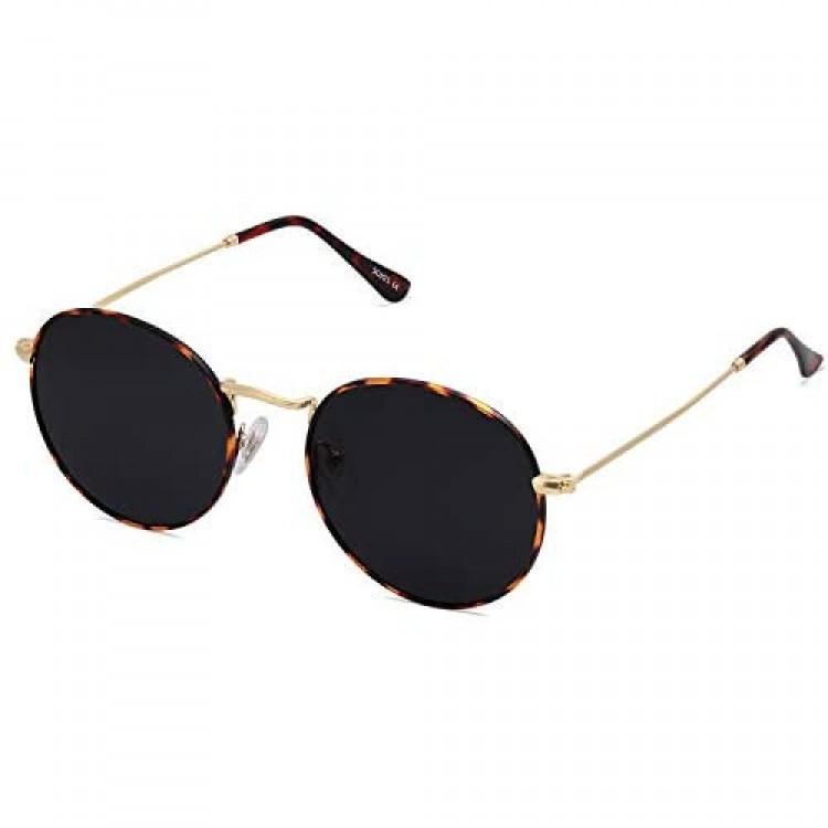 SOJOS Small Round Polarized Sunglasses for Women Men Classic Vintage Retro Shades UV400 SJ1014
