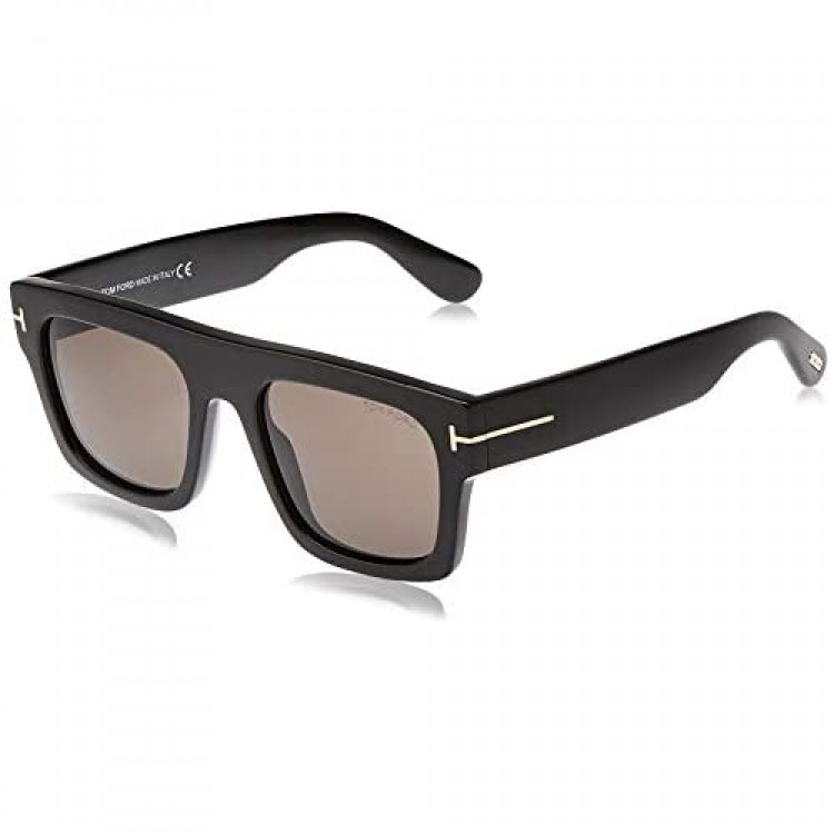 Tom Ford FT0711 01A Shiny Black Fausto Square Sunglasses Lens Category 3 Size 5