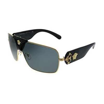 Versace Squared Baroque VE 2207Q 100287 Gold Black Leather Metal Square Sunglasses Grey Lens