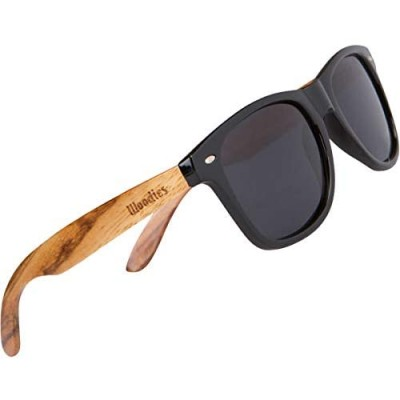 WOODIES Polarized Zebra Wood Sunglasses for Men and Women | Black Polarized Lenses and Real Wooden Frame | 100% UVA/UVB Ray Protection