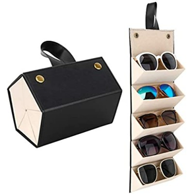 MoKo Sunglasses Organizer with 5 Slots Travel Glasses Case Storage Portable Sunglasses Storage Case Bag Foldable Eyeglasses Holder Box Eyewear Display Containers for Women Men