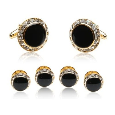 Black Enamel and CZ Gold Tuxedo Formal Set Cufflinks and Studs with Gift Box