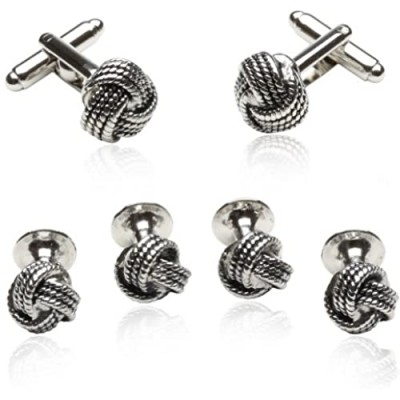 Classic Woven Silver Knot Tuxedo Cufflink and Stud Set Formal Set with Presentation Box Groom Groomsmen Wedding